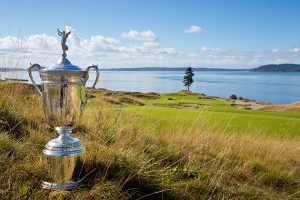 The U.S. Open Trophy photographed at the scenic par-3, 15th hole, during 2015 U.S. Open Championship Preview Day at Chambers Bay golf course in University Place, Wash. on Tuesday, September 30, 2014. (Copyright USGA/Steven Gibbons)