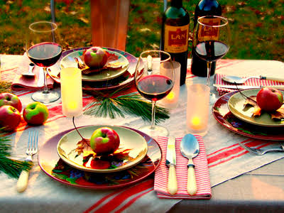 Food presentation using traditional colours, wine and fruit