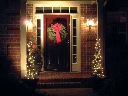 Front door with festive lighting