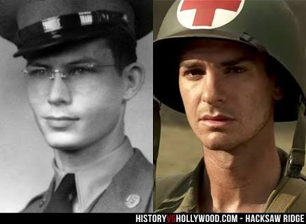 Andrew Garfield as Desmond Doss who appears on the left