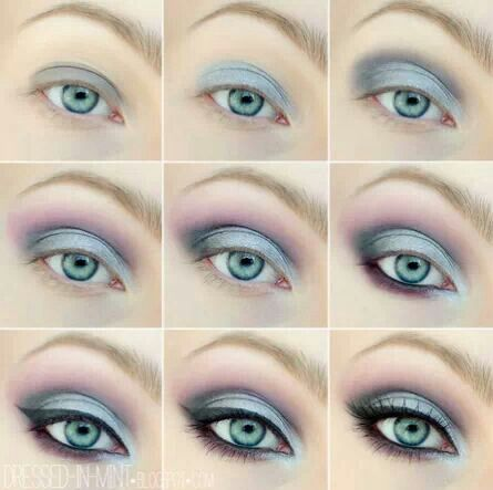 An example of black and pastel eye-shadow application